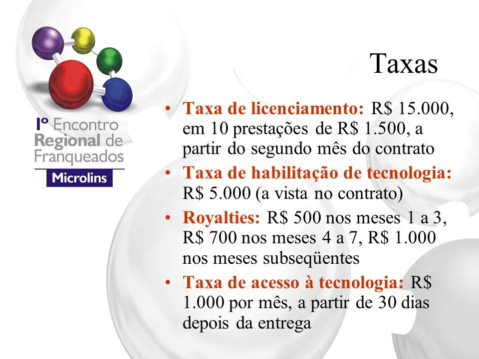 Taxas Taxa de licenciamento: R$ 15.000, em 10 prestações de R$ 1.500, a partir do segundo mês do contrato.