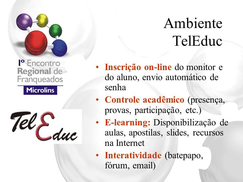 Ambiente TelEduc Inscrição on-line do monitor e do aluno, envio automático de senha. Controle acadêmico (presença, provas, participação, etc.)
