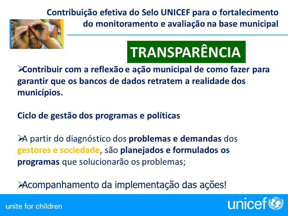 Contribuição efetiva do Selo UNICEF para o fortalecimento