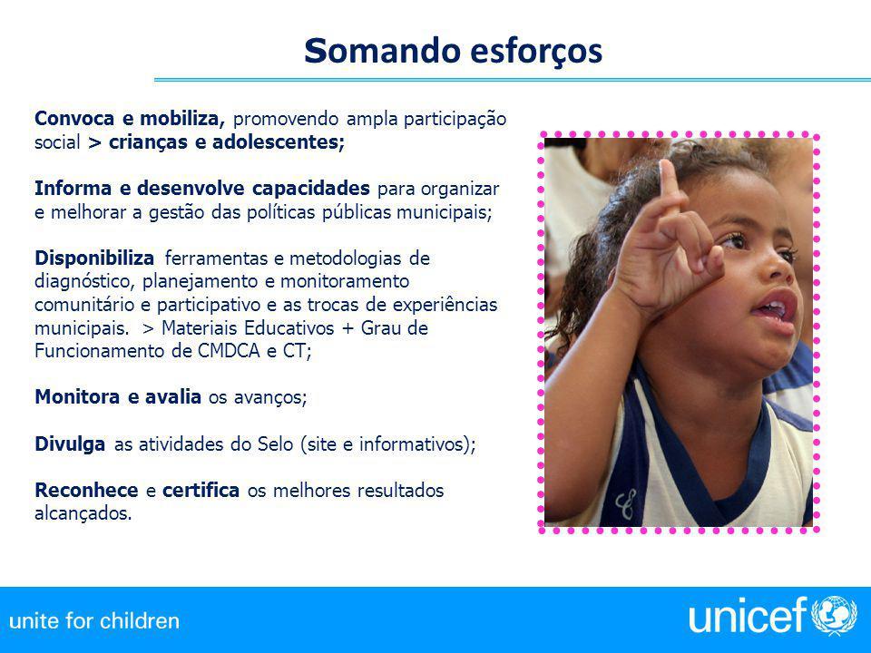 Somando esforços Convoca e mobiliza, promovendo ampla participação social > crianças e adolescentes;