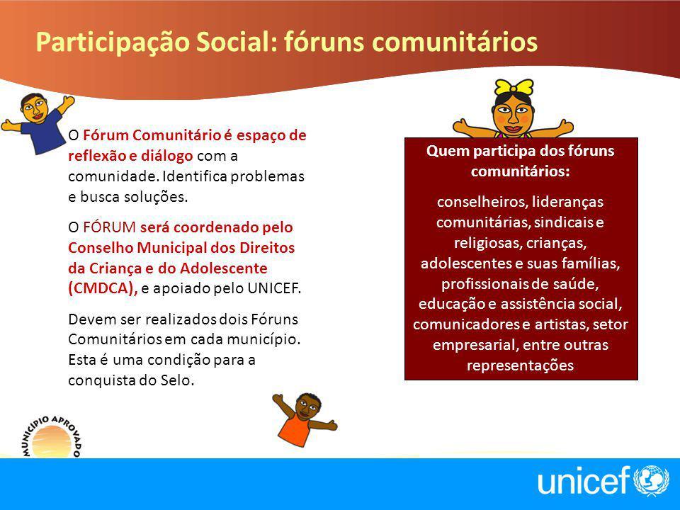 Participação Social: fóruns comunitários