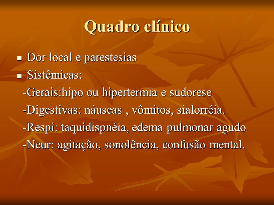Quadro clínico Dor local e parestesias Sistêmicas: