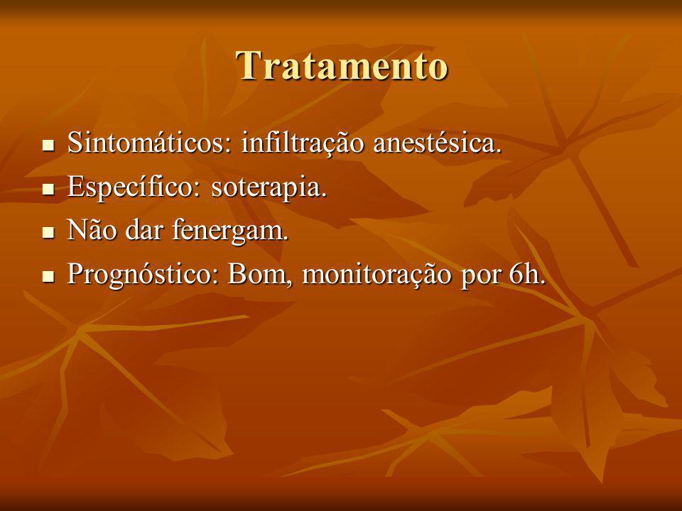 Tratamento Sintomáticos: infiltração anestésica.