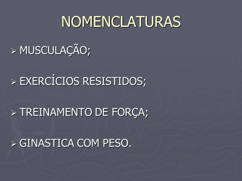 NOMENCLATURAS MUSCULAÇÃO; EXERCÍCIOS RESISTIDOS; TREINAMENTO DE FORÇA;