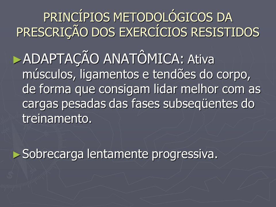 PRINCÍPIOS METODOLÓGICOS DA PRESCRIÇÃO DOS EXERCÍCIOS RESISTIDOS