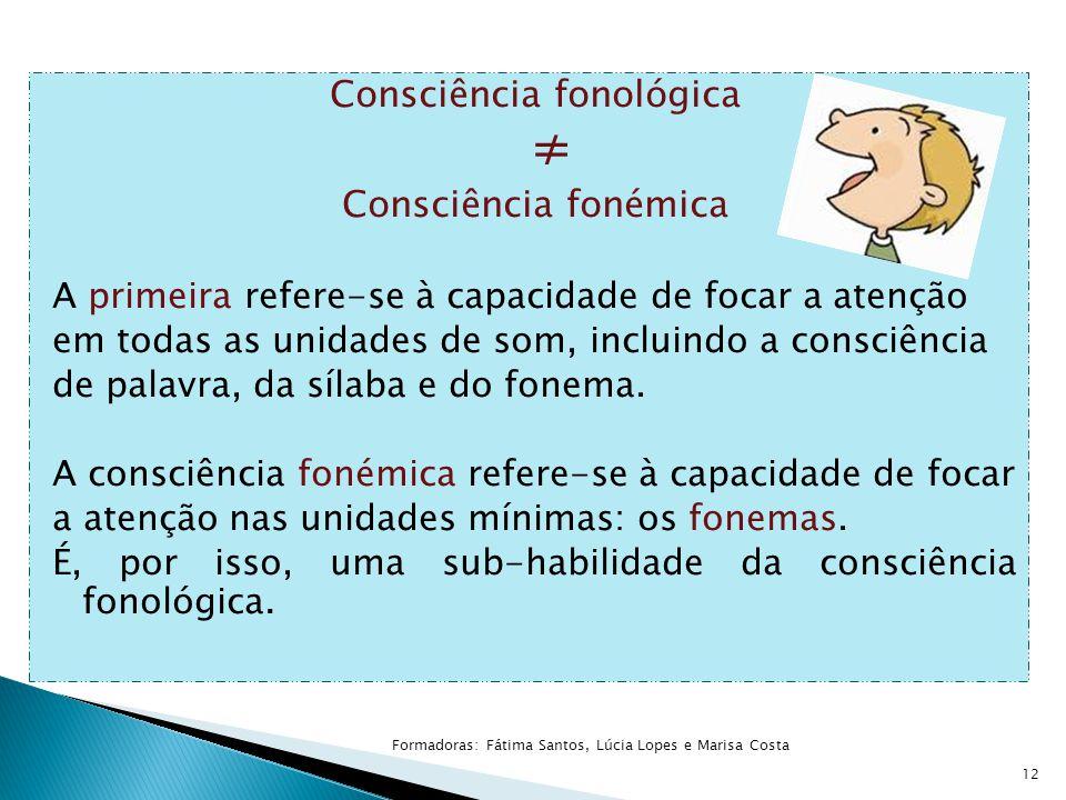 Consciência fonológica ≠ Consciência fonémica