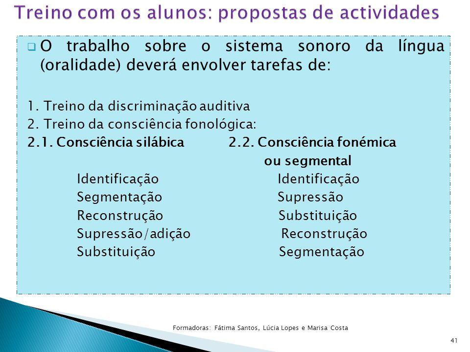 Treino com os alunos: propostas de actividades