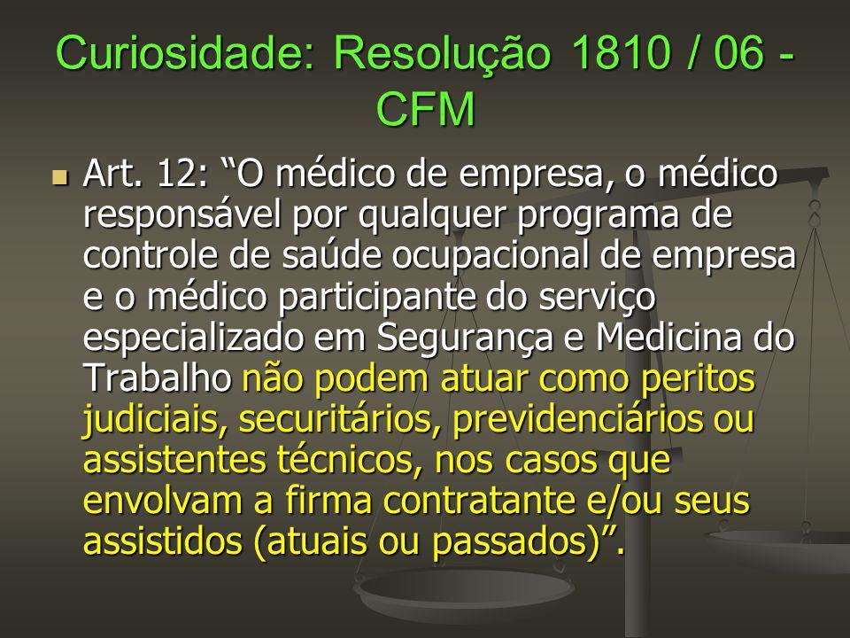 Curiosidade: Resolução 1810 / 06 - CFM