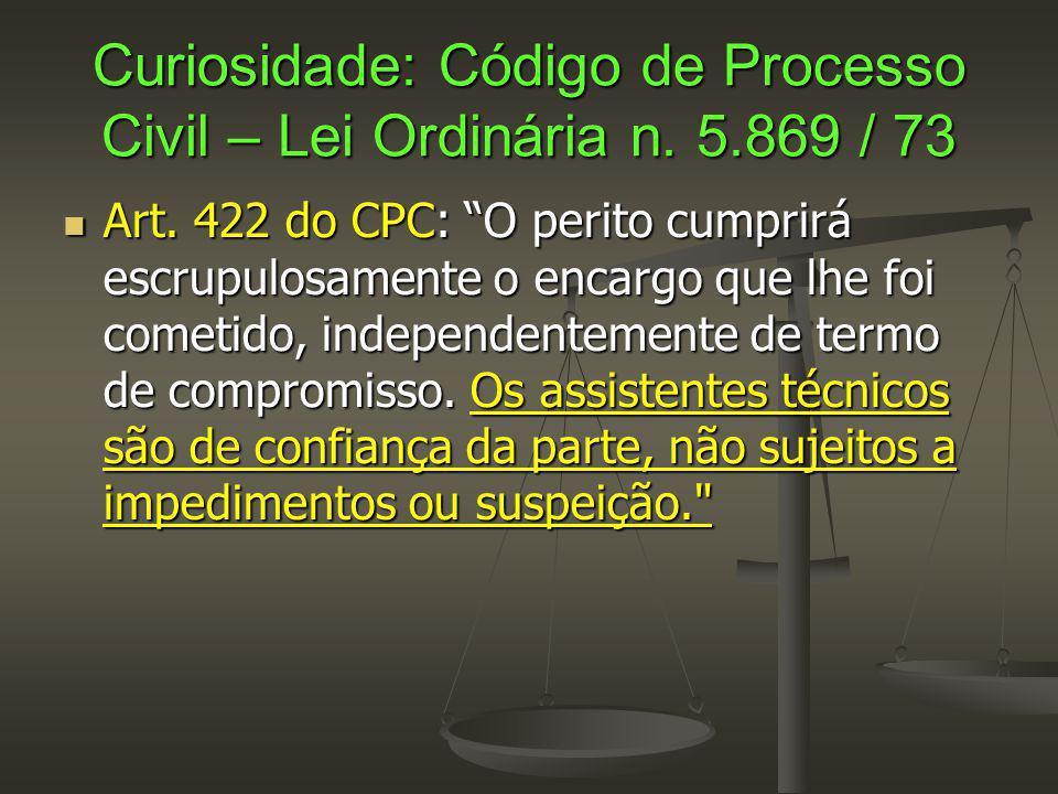 Curiosidade: Código de Processo Civil – Lei Ordinária n. 5.869 / 73