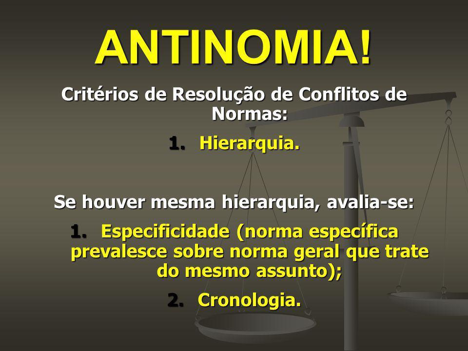 ANTINOMIA! Critérios de Resolução de Conflitos de Normas: Hierarquia.