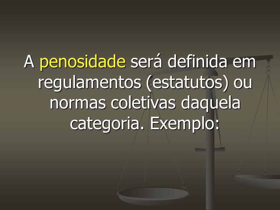 A penosidade será definida em regulamentos (estatutos) ou normas coletivas daquela categoria.