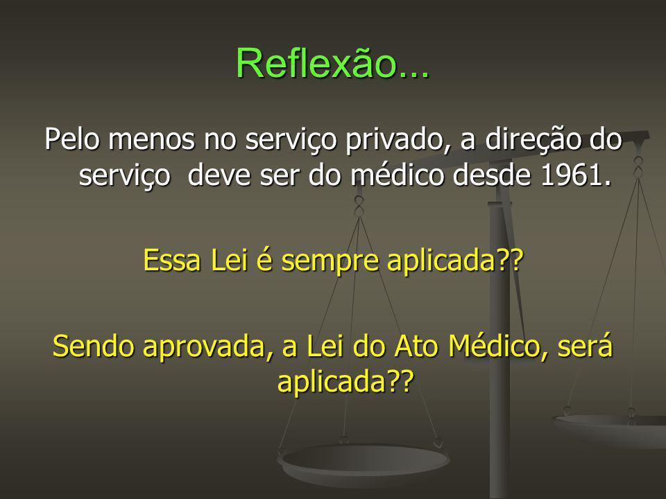 Reflexão... Pelo menos no serviço privado, a direção do serviço deve ser do médico desde 1961. Essa Lei é sempre aplicada