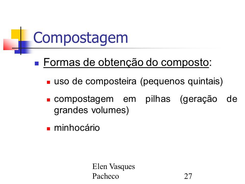 Compostagem Formas de obtenção do composto: