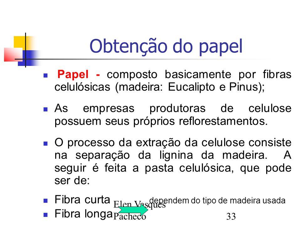 Obtenção do papel Papel - composto basicamente por fibras celulósicas (madeira: Eucalipto e Pinus);