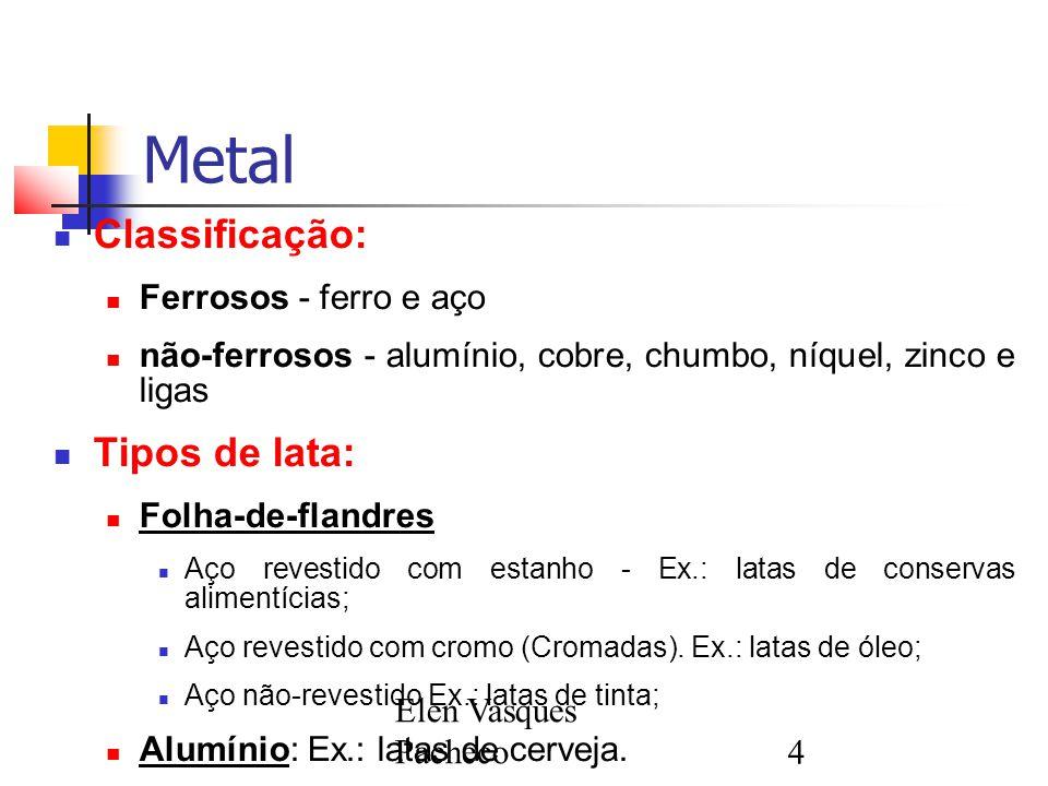 Metal Classificação: Tipos de lata: Ferrosos - ferro e aço