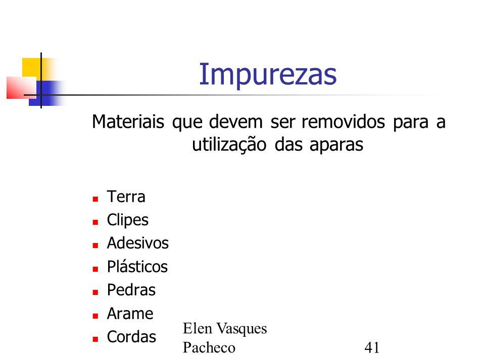 Materiais que devem ser removidos para a utilização das aparas