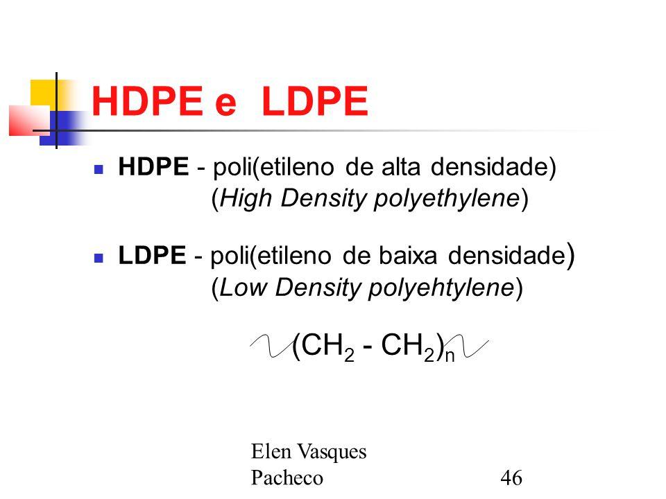 HDPE e LDPE HDPE - poli(etileno de alta densidade) (High Density polyethylene)
