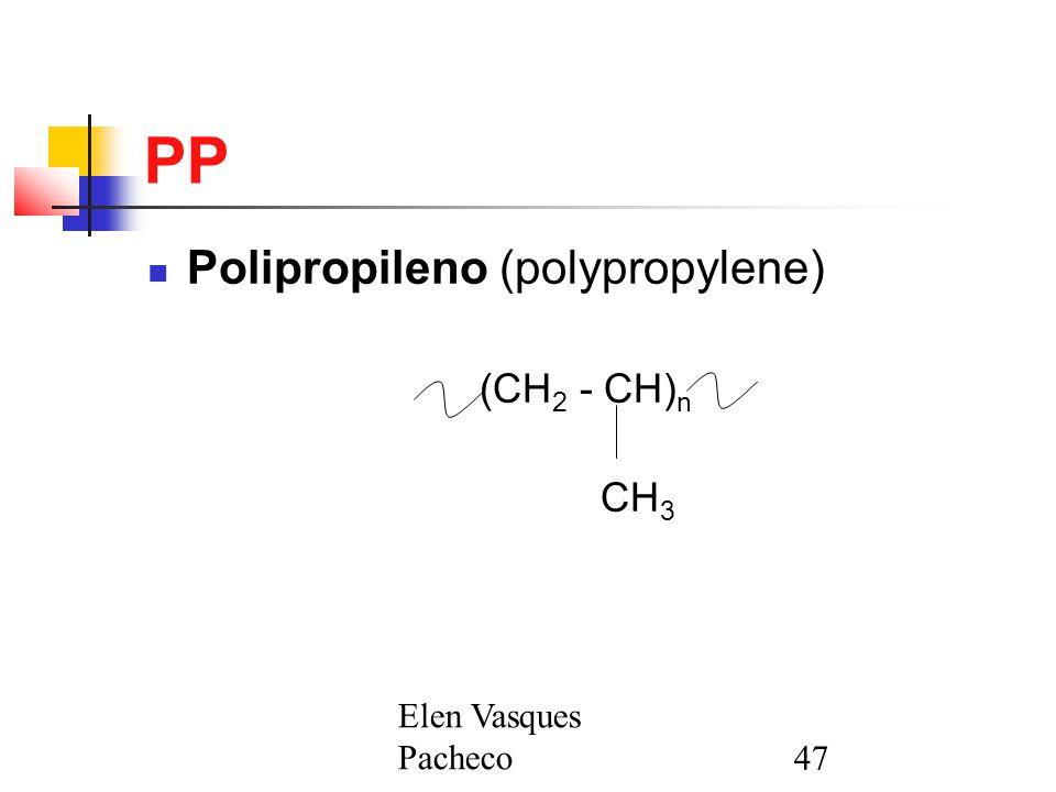 PP Polipropileno (polypropylene) (CH2 - CH)n CH3 Elen Vasques Pacheco
