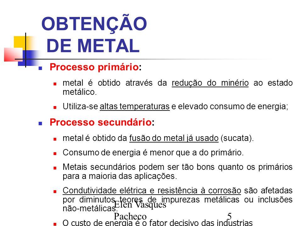 OBTENÇÃO DE METAL Processo primário: Processo secundário: