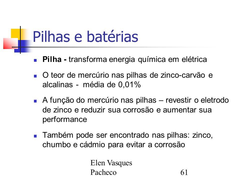 Pilhas e batérias Pilha - transforma energia química em elétrica