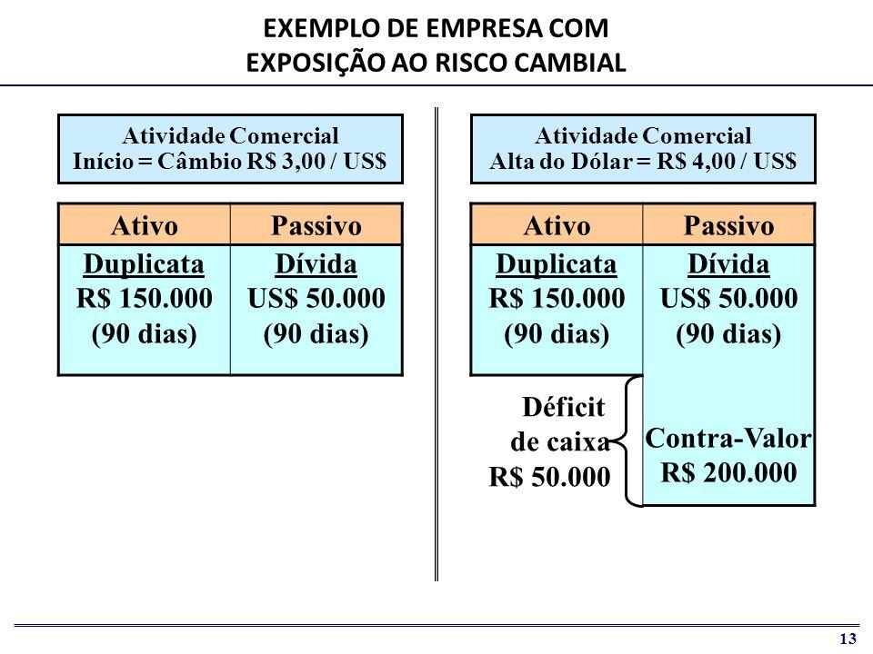 EXEMPLO DE EMPRESA COM EXPOSIÇÃO AO RISCO CAMBIAL