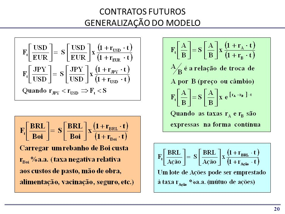 CONTRATOS FUTUROS GENERALIZAÇÃO DO MODELO