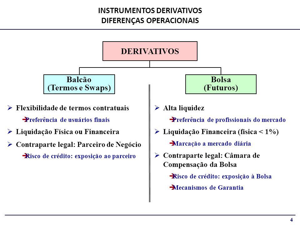 INSTRUMENTOS DERIVATIVOS DIFERENÇAS OPERACIONAIS