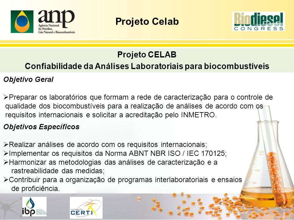 Confiabilidade da Análises Laboratoriais para biocombustíveis