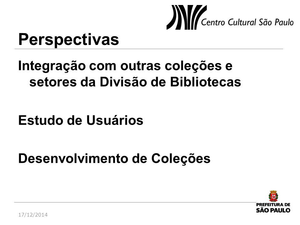 Perspectivas Integração com outras coleções e setores da Divisão de Bibliotecas. Estudo de Usuários.