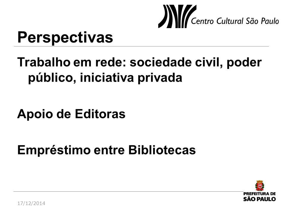 Perspectivas Trabalho em rede: sociedade civil, poder público, iniciativa privada Apoio de Editoras Empréstimo entre Bibliotecas