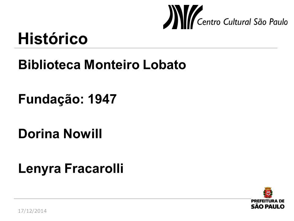 Histórico Biblioteca Monteiro Lobato Fundação: 1947 Dorina Nowill Lenyra Fracarolli 07/04/2017