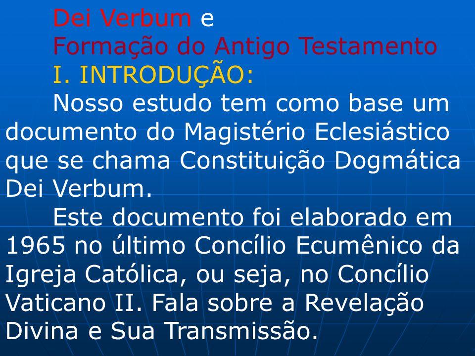 Dei Verbum e Formação do Antigo Testamento