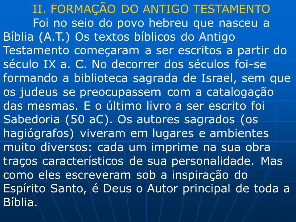 II. FORMAÇÃO DO ANTIGO TESTAMENTO