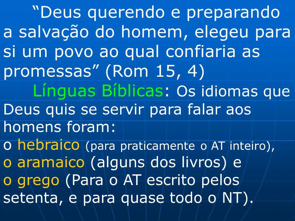 Deus querendo e preparando a salvação do homem, elegeu para si um povo ao qual confiaria as promessas (Rom 15, 4)