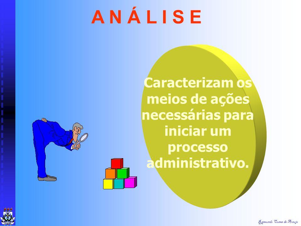 A N Á L I S E Caracterizam os meios de ações necessárias para iniciar um processo administrativo.