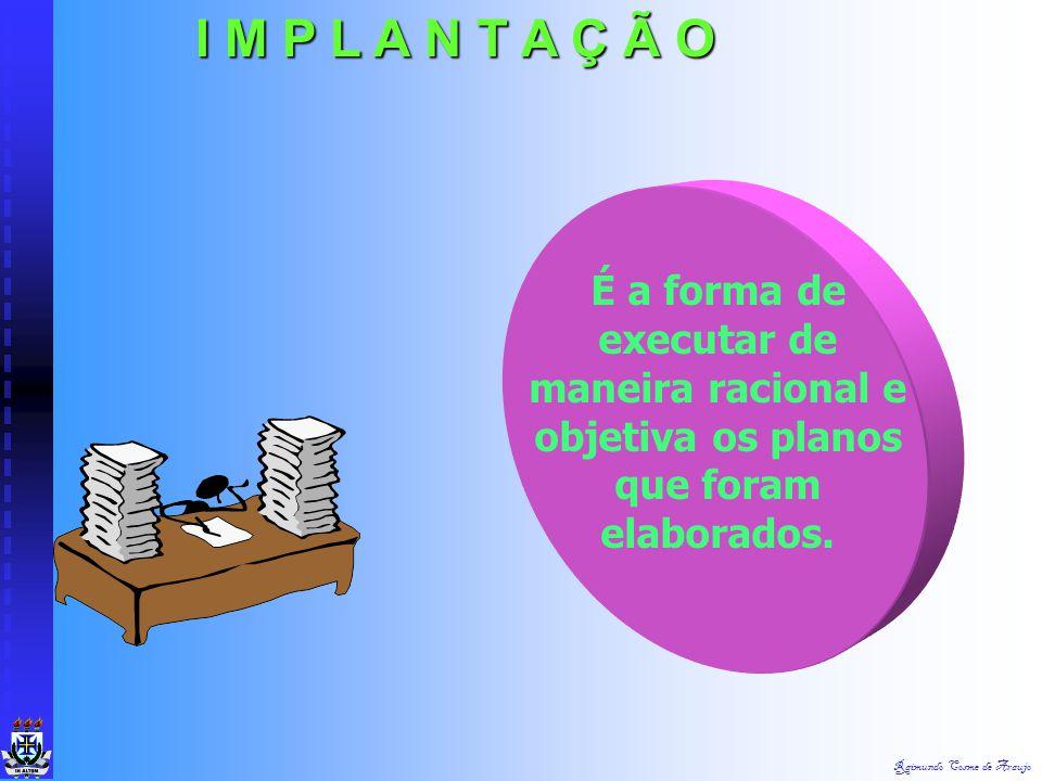 I M P L A N T A Ç Ã O É a forma de executar de maneira racional e objetiva os planos que foram elaborados.