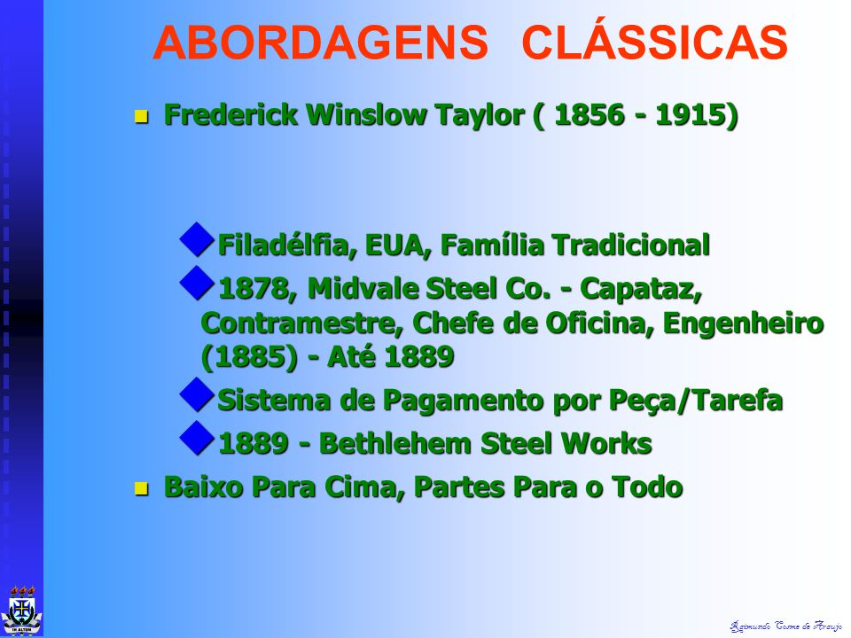 ABORDAGENS CLÁSSICAS Frederick Winslow Taylor ( 1856 - 1915)