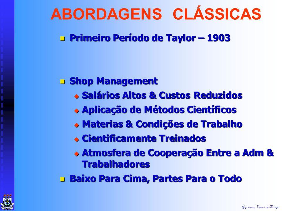 ABORDAGENS CLÁSSICAS Primeiro Período de Taylor – 1903 Shop Management