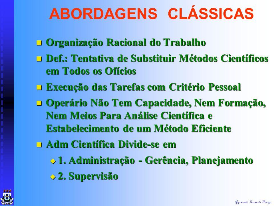ABORDAGENS CLÁSSICAS Organização Racional do Trabalho