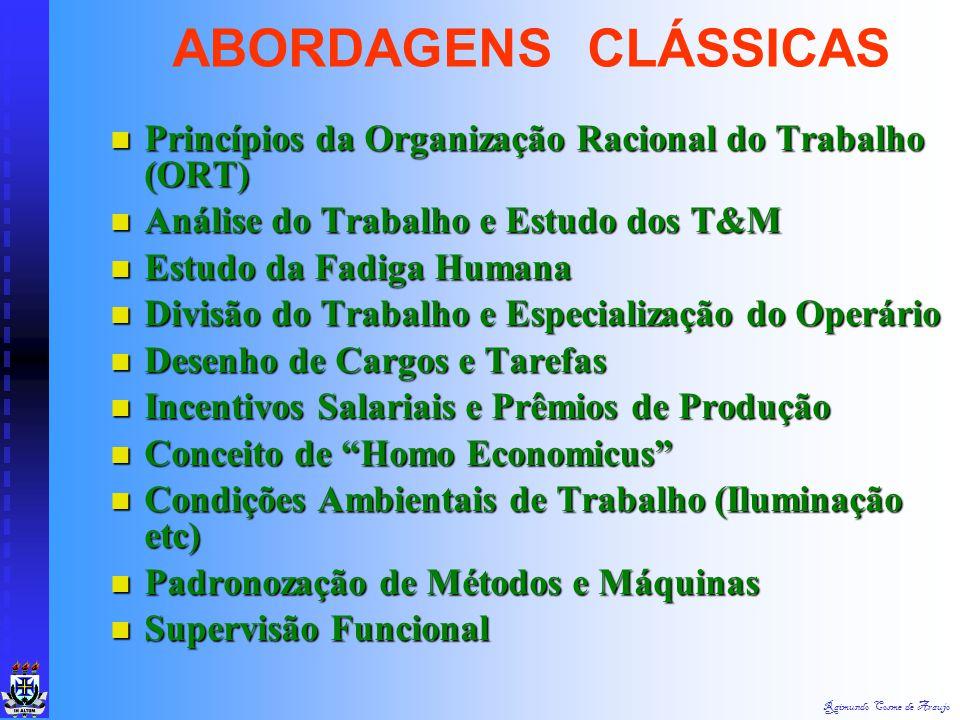 ABORDAGENS CLÁSSICAS Princípios da Organização Racional do Trabalho (ORT) Análise do Trabalho e Estudo dos T&M.