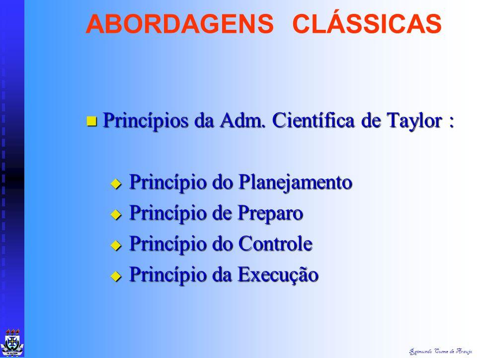 ABORDAGENS CLÁSSICAS Princípios da Adm. Científica de Taylor :