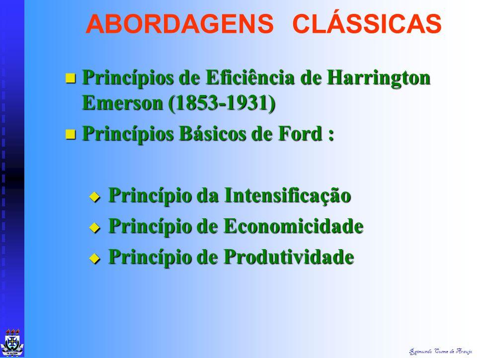 ABORDAGENS CLÁSSICAS Princípios de Eficiência de Harrington Emerson (1853-1931) Princípios Básicos de Ford :