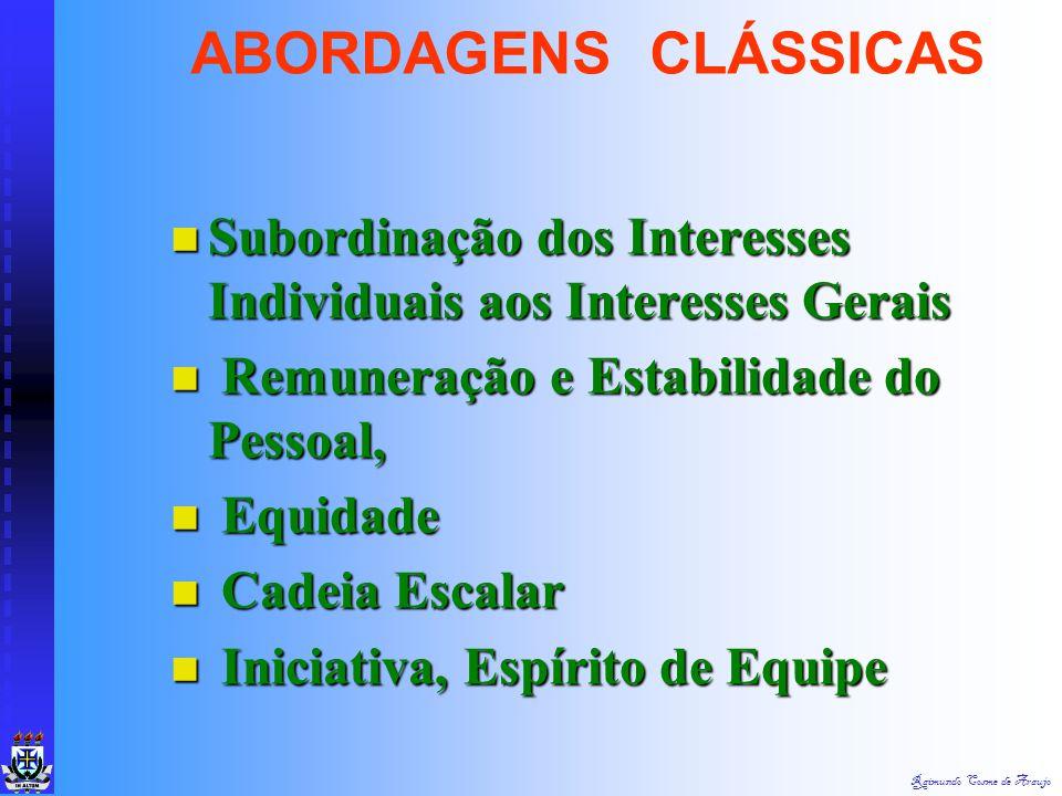ABORDAGENS CLÁSSICAS Subordinação dos Interesses Individuais aos Interesses Gerais. Remuneração e Estabilidade do Pessoal,