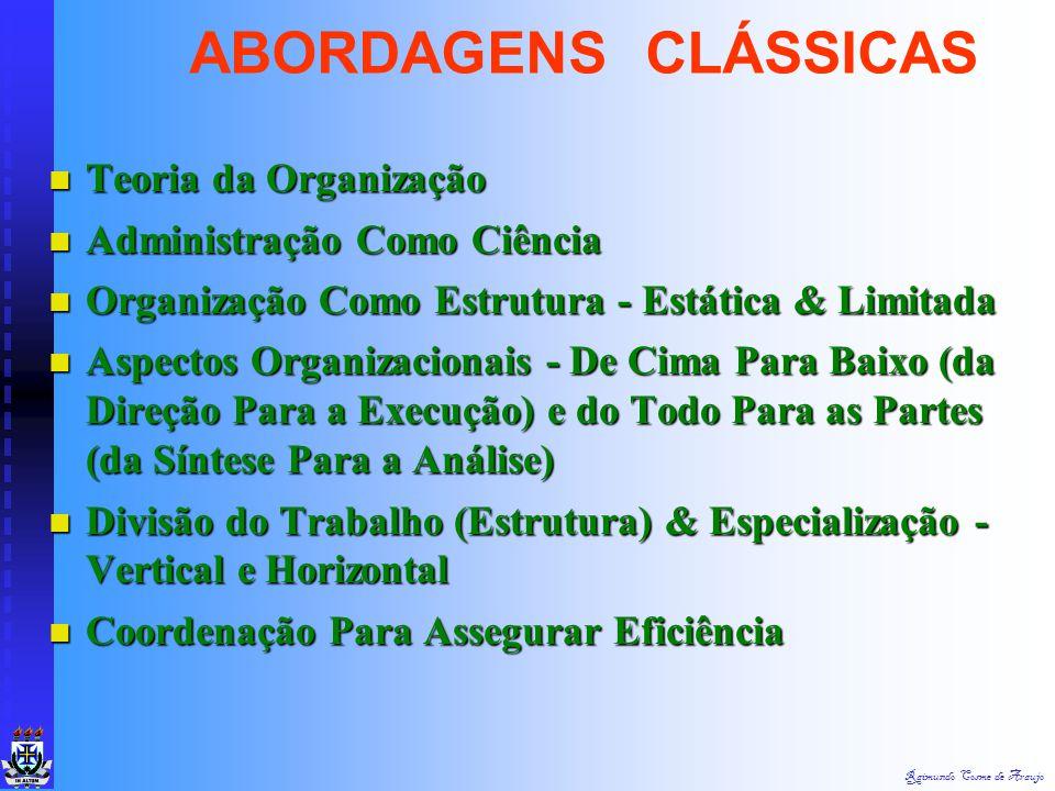 ABORDAGENS CLÁSSICAS Teoria da Organização Administração Como Ciência
