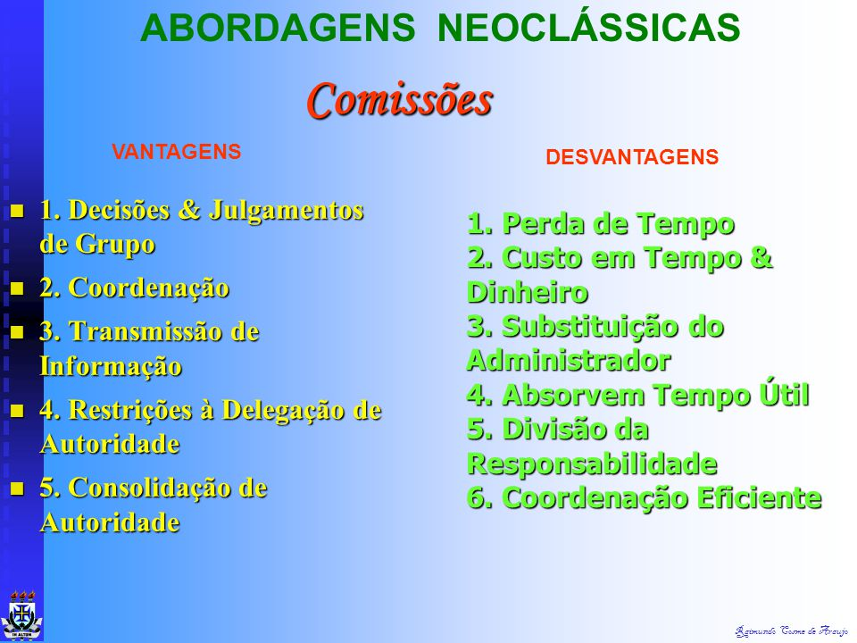 Comissões ABORDAGENS NEOCLÁSSICAS 1. Decisões & Julgamentos de Grupo