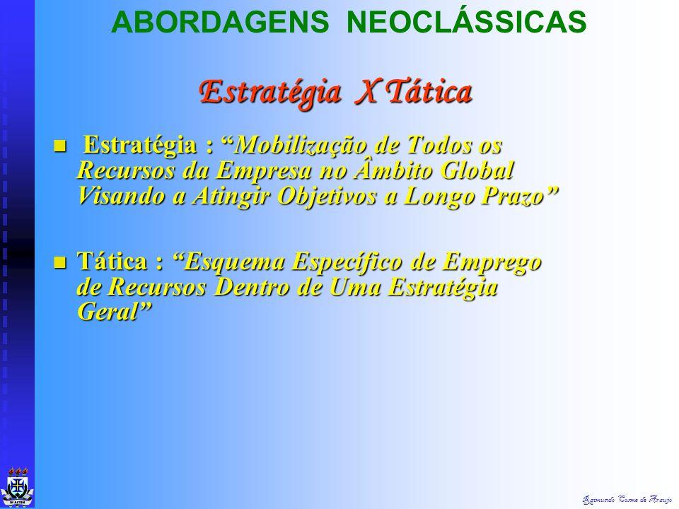 Estratégia X Tática ABORDAGENS NEOCLÁSSICAS