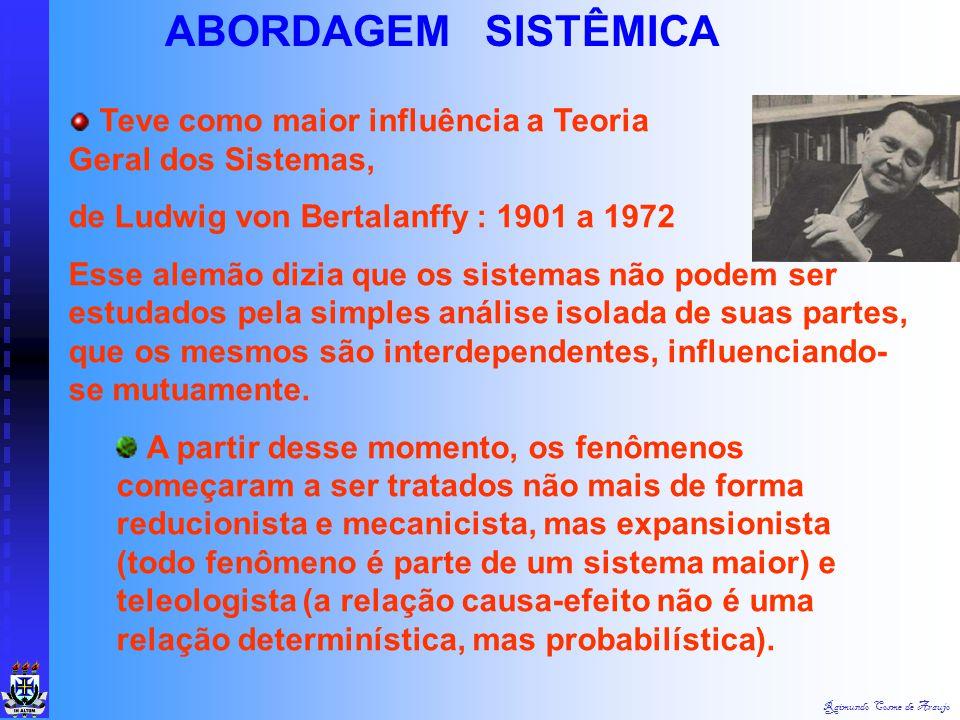 ABORDAGEM SISTÊMICA Teve como maior influência a Teoria Geral dos Sistemas,