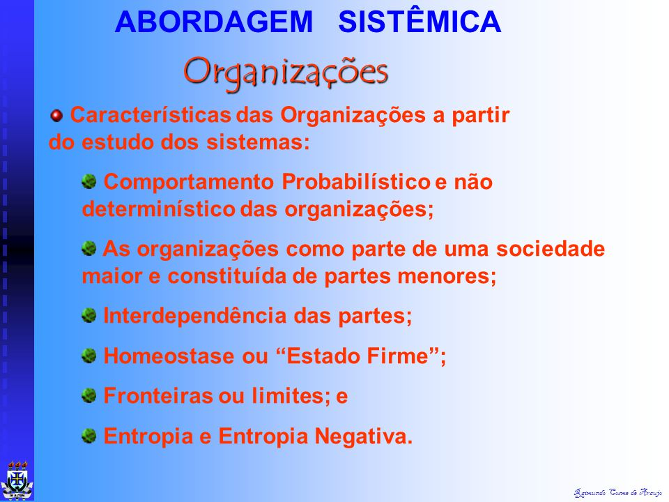 Organizações ABORDAGEM SISTÊMICA