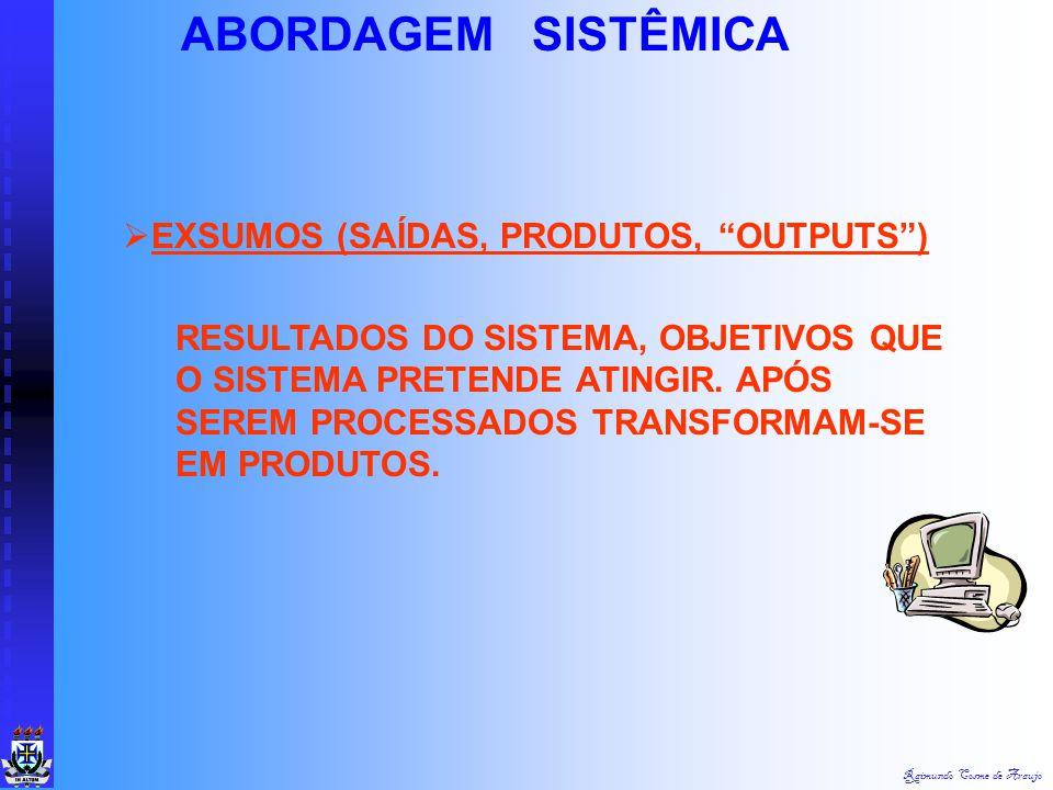 ABORDAGEM SISTÊMICA EXSUMOS (SAÍDAS, PRODUTOS, OUTPUTS )