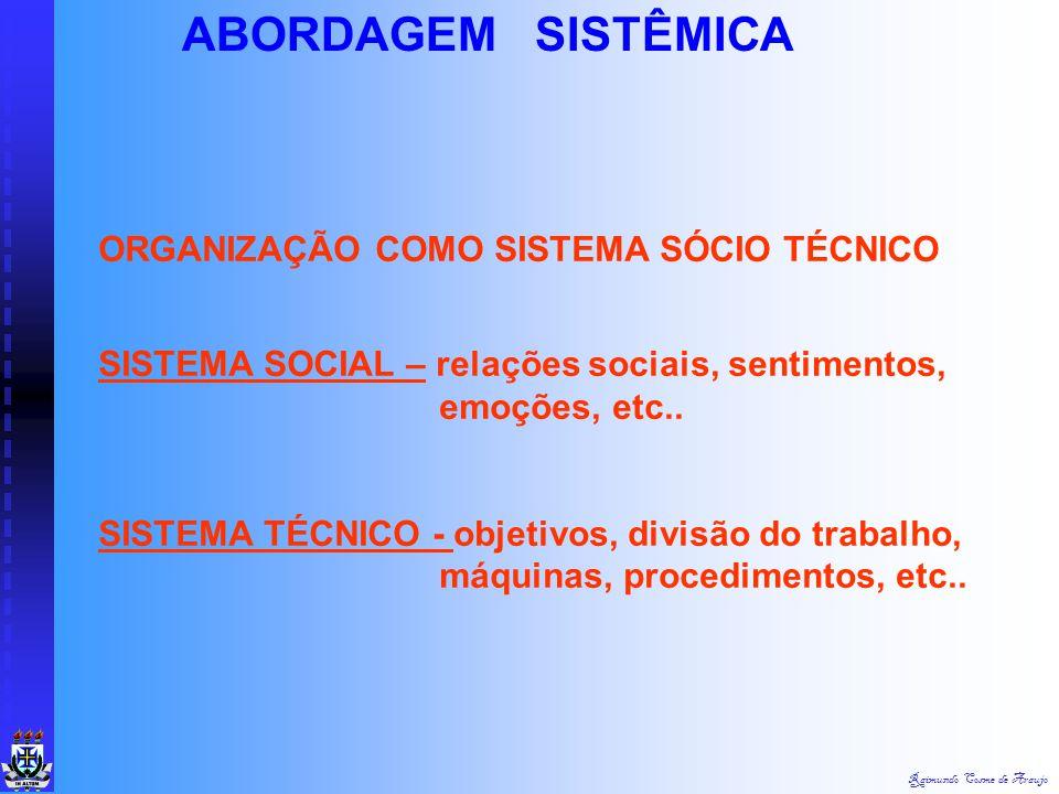 ABORDAGEM SISTÊMICA ORGANIZAÇÃO COMO SISTEMA SÓCIO TÉCNICO